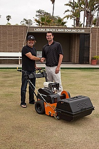 Laguna Beach Lawn Bowls Club in California purchased a SISIS Auto Rotorake Mk5 scarifier to improve greens