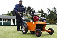 The SISIS Supaturfman in action on one of Leicester City Councils bowling greens.
