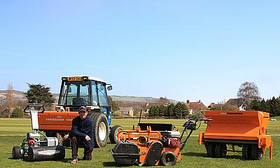 The Dennis cricket mower is complemented by three SISIS machines - Rotorake TM1000, Powaspred and Variseeder 1300
